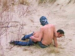 Hot submissive daddy gets ass spanked in the dunes
