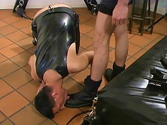 Tied upside down and fisted by his master