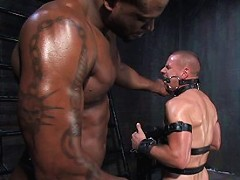 Master Diesel Washington covers slave park with piss then fucks him in bondage.