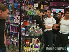 A stud wants to be a whore in a sex shop.